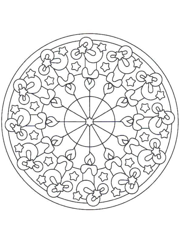 Christmas Mandala, : Holy Night Mandala Christmas Coloring Pages
