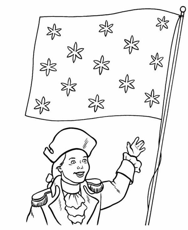 Independence Day, : Honoring Flag on 4th July Independence Day Coloring Page
