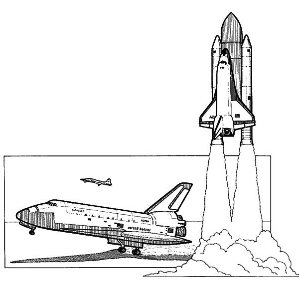 Space Travel, : How to Draw Spaceshuttle Space Travel Coloring Pages