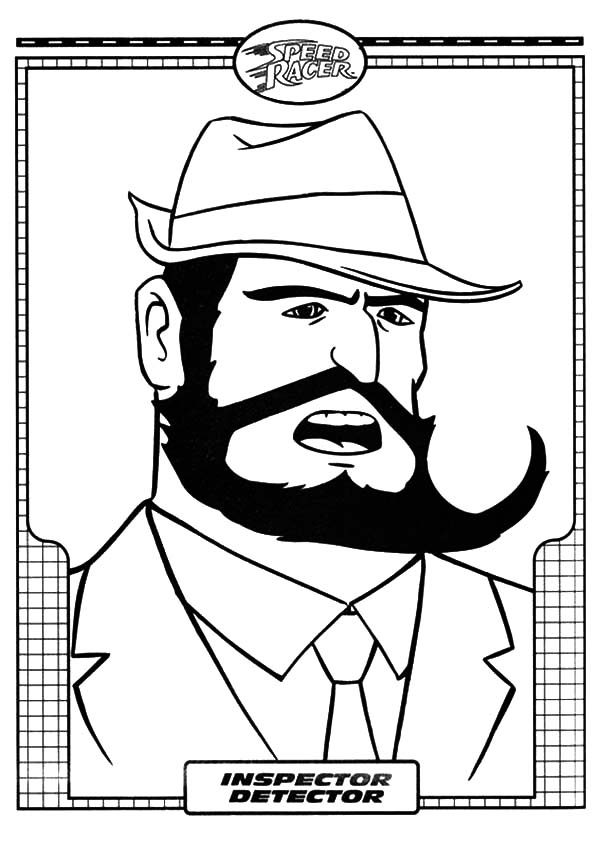 Speed Racer, : Inspector Detector of Speed Racer Coloring Pages