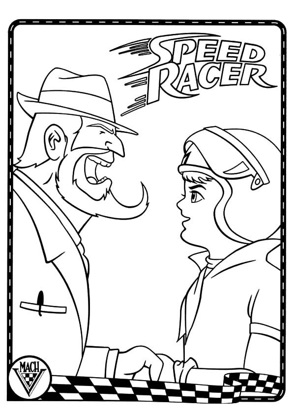 Speed Racer, : Inspector Yelling at Speed Racer Coloring Pages