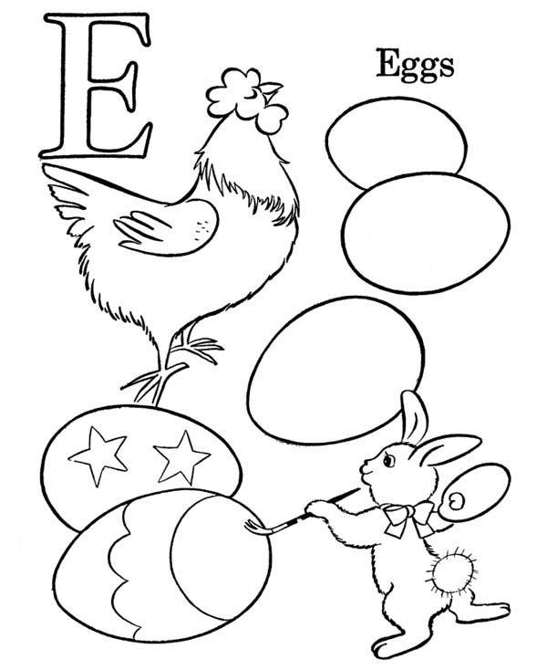 Letter E, : Kids Learning Letter E Coloring Page