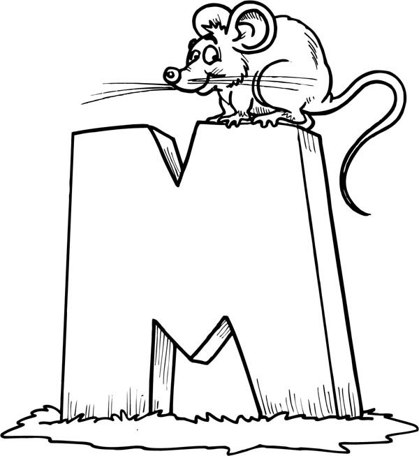 Letter M, : Kindergarten Kids Learn Letter M for Mouse Coloring Page