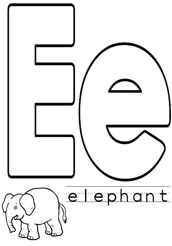 Letter E, : Kindergarten Kids Letter E Coloring Page