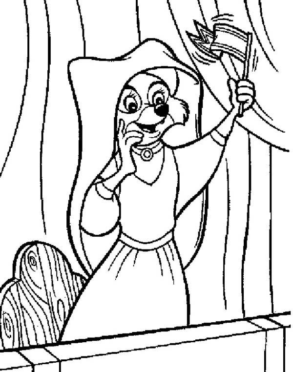 Robin Hood, : Lady Marian Waving a Flag for Robin Hood Coloring Pages