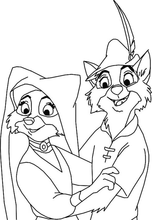 Robin Hood, : Lady Marian and Robin Hood are Lovers Coloring Pages