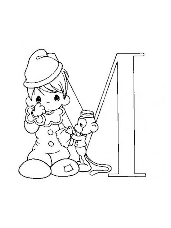 Letter M, : Learn Alphabet Letter M Coloring Page