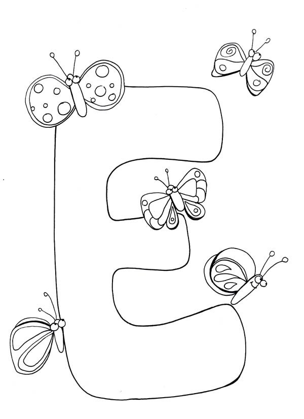 Letter E, : Learn Capital Letter E Coloring Page