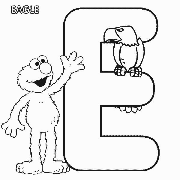 Letter E, : Learn Letter E is for Eagle in Sesame Street Coloring Page