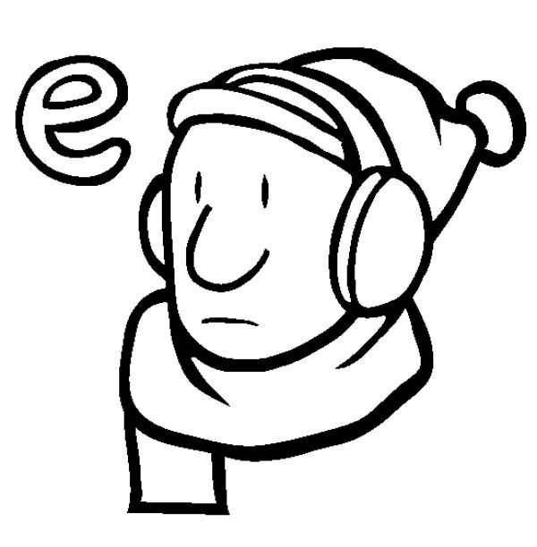 Letter E, : Learn Letter E is for Earmuffs Coloring Page