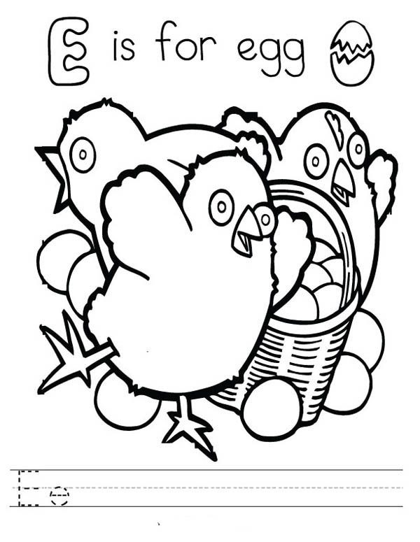 Letter E, : Learn Letter E is for Egg Coloring Page