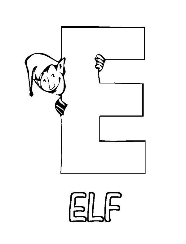 Letter E, : Learn Letter E is for Elf Coloring Page