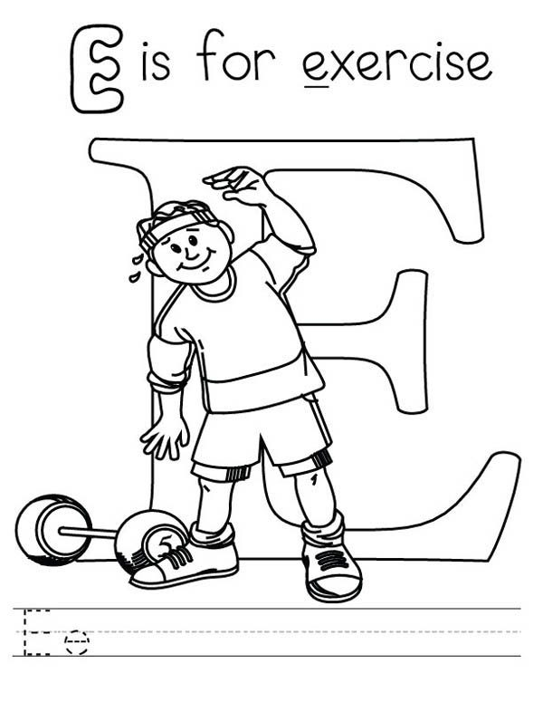 Letter E, : Learn Letter E is for Exercise Coloring Page