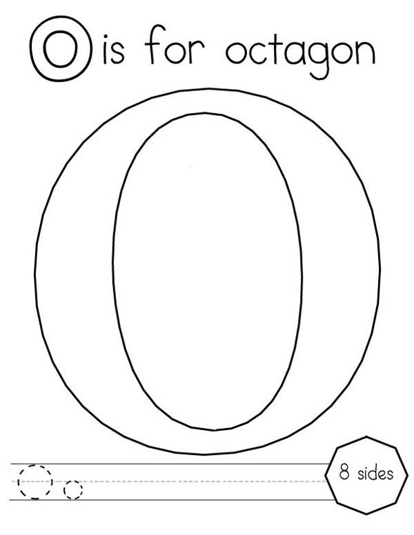 Letter O, : Learn Letter O is for Octagon Coloring Page