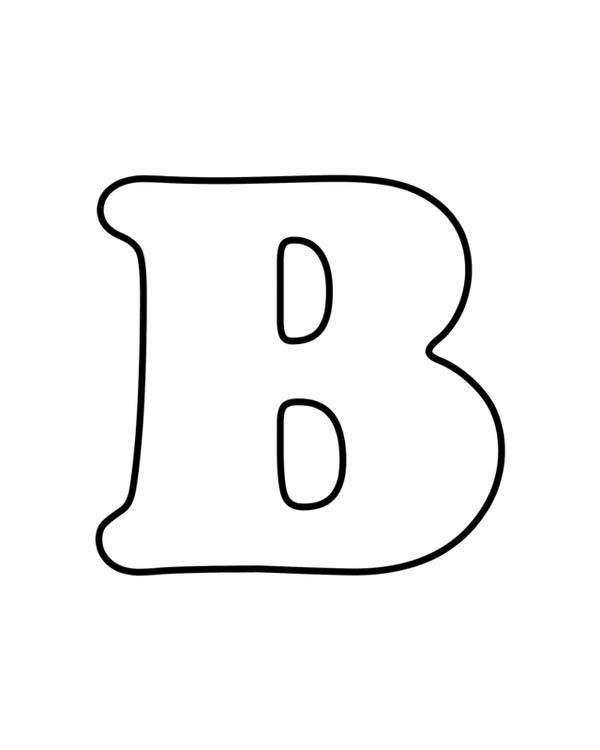 Letter B, : Learning Letter B Coloring Page