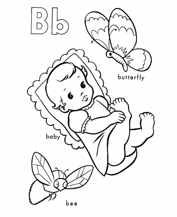 Letter B, : Learning Letter B Coloring Page for Kids