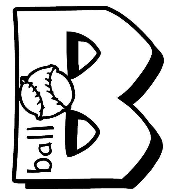 Letter B, : Learning Letter  B for Baseball Coloring Page