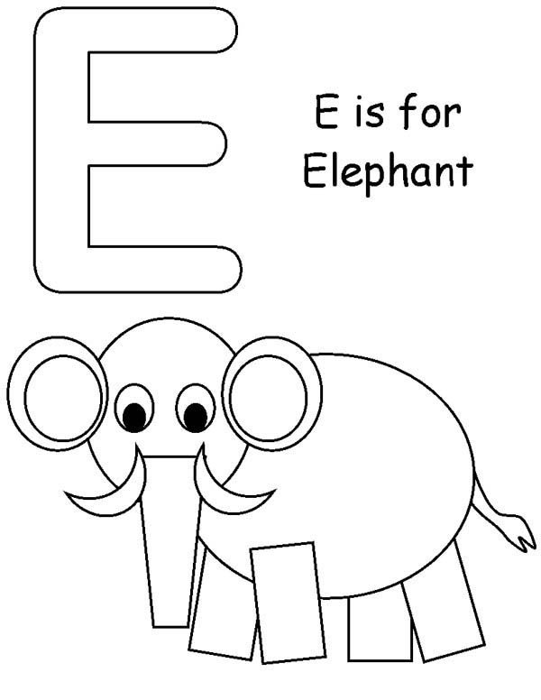 Letter E, : Learning Letter E Coloring Page