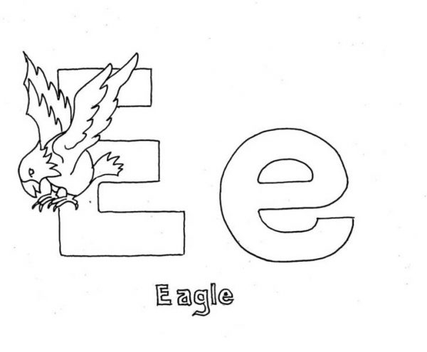 Letter E, : Learning Letter E for Eagle Coloring Page