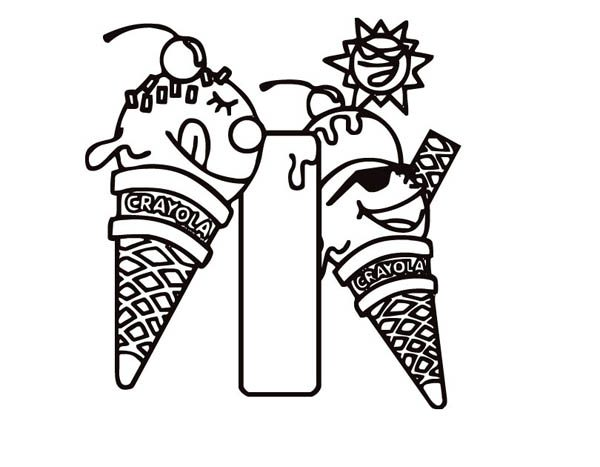 Letter I, : Learning Letter I for Ice Cream Coloring Page