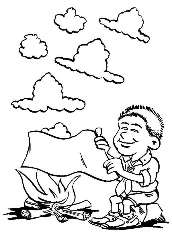Scouting, : Learning Smoke Sign in Scouting Coloring Pages