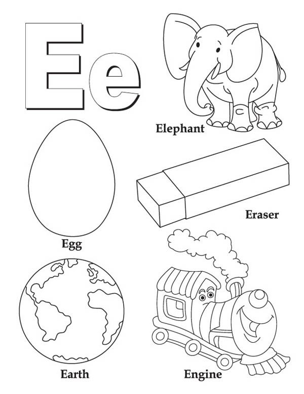 learning words letter e coloring page