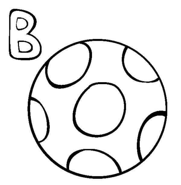 Letter B, : Letter B is for Ball Coloring Page