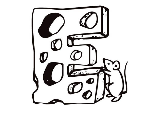 Letter E, : Letter E Cheese and Mouse Coloring Page