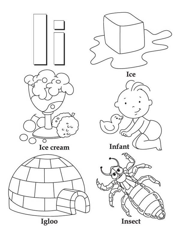 Letter I, : Letter I Words Coloring Page