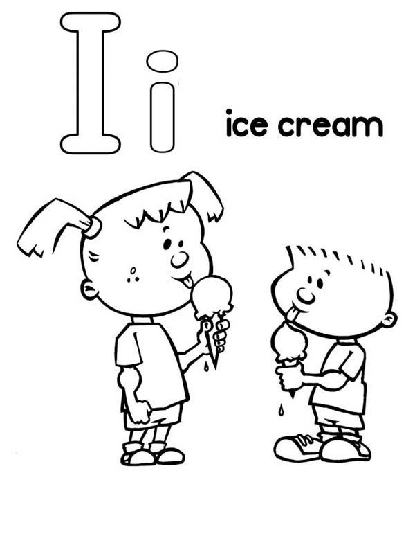 Letter I, : Letter I and Ice Cream Coloring Page