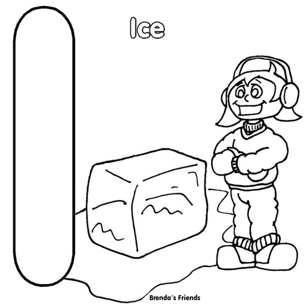 Letter I, : Letter I is for Ice Coloring Page