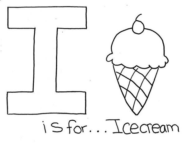 Letter I, : Letter I is for Ice Cream Coloring Page