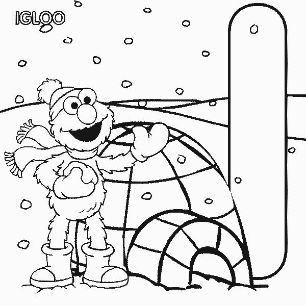 Letter I, : Letter I is for Igloo in Sesame Street Coloring Page