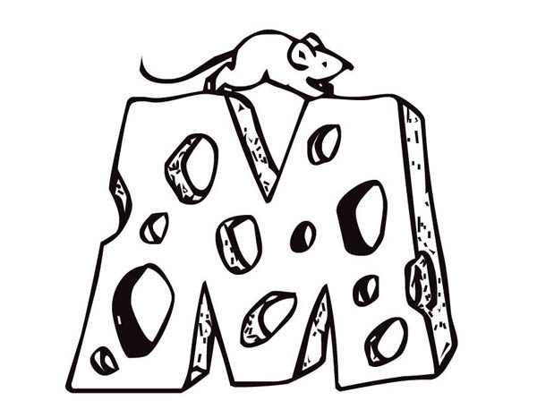 Letter M, : Letter M Cheese Coloring Page