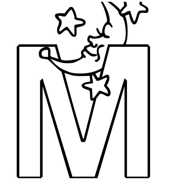 Letter M, : Letter M Coloring Page for Kids
