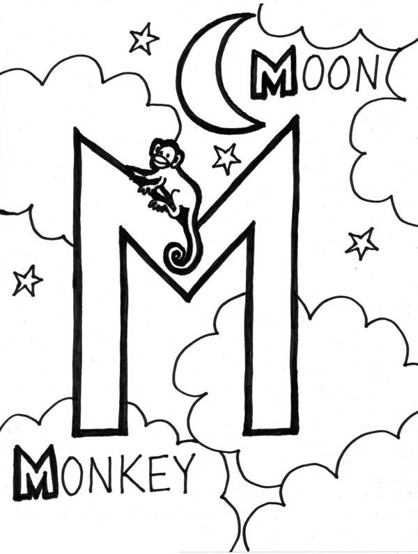 Letter M, : Letter M Words Coloring Page