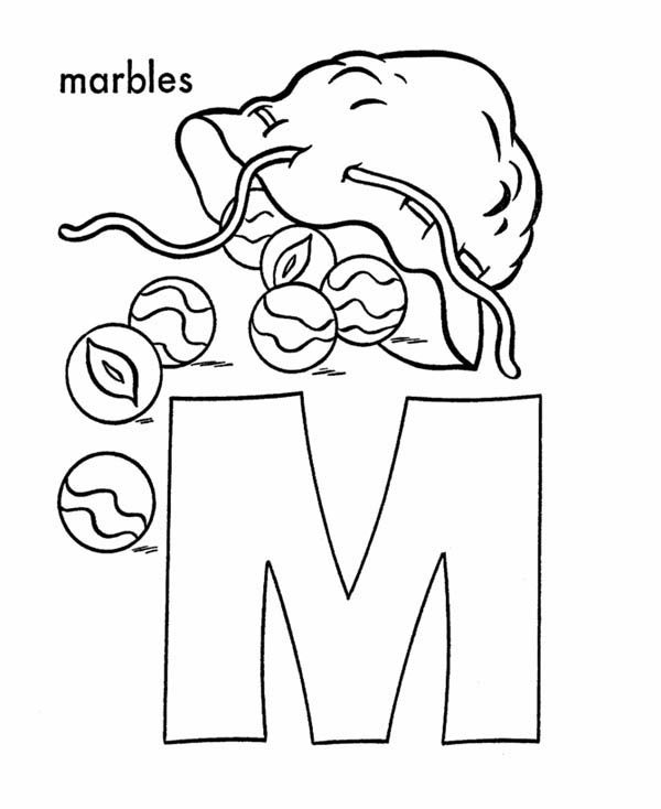 Letter M, : Letter M is for Marbles Coloring Page