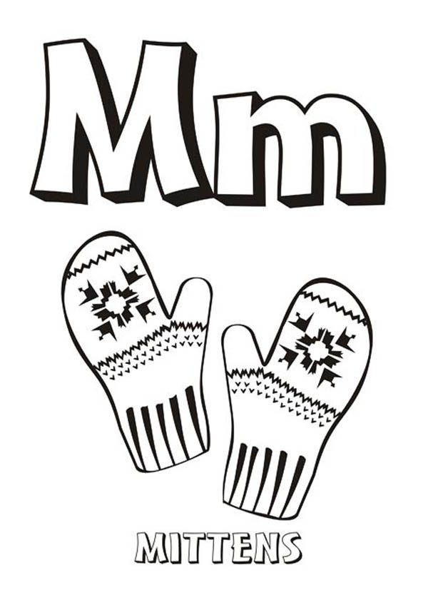 Letter M, : Letter M is for Mittens Coloring Page