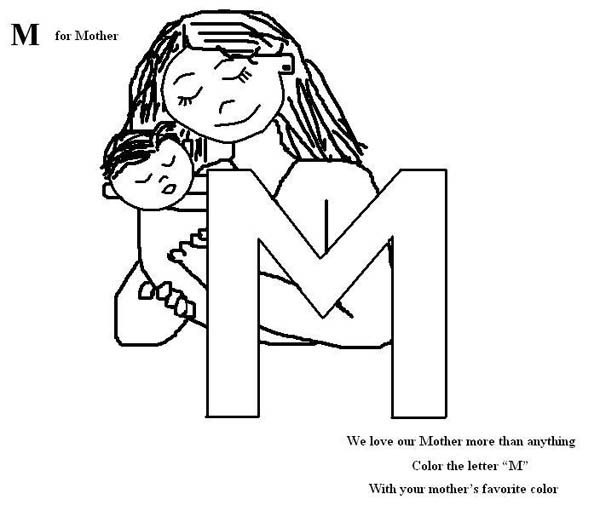 Letter M, : Letter M is for Mother Coloring Page