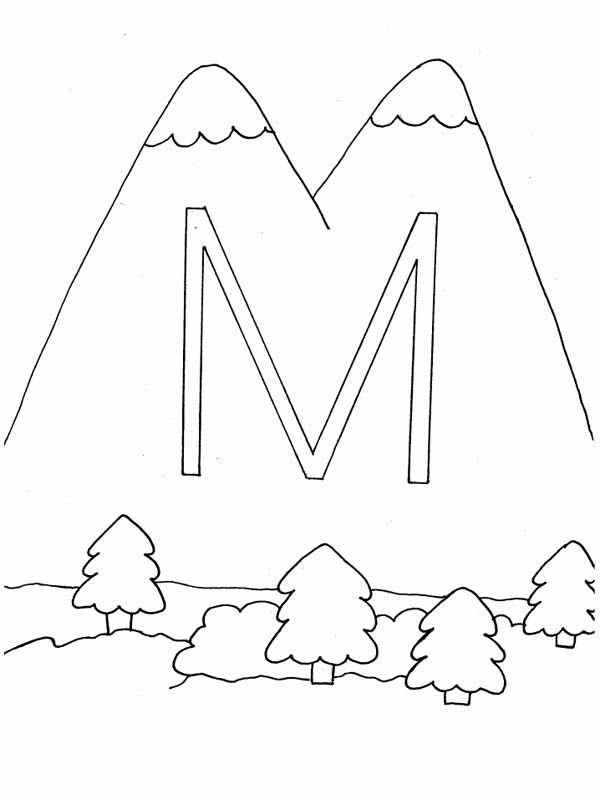 Letter M, : Letter M is for Mountain Coloring Page