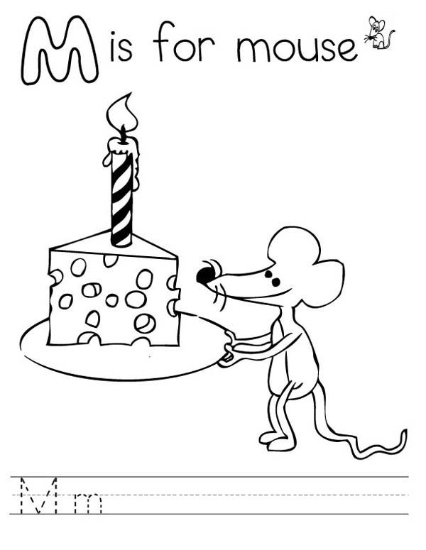 Letter M, : Letter M is for Mouse Coloring Page