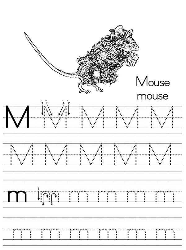 Letter M, : Letter M is for Mouse Worksheet Coloring Page