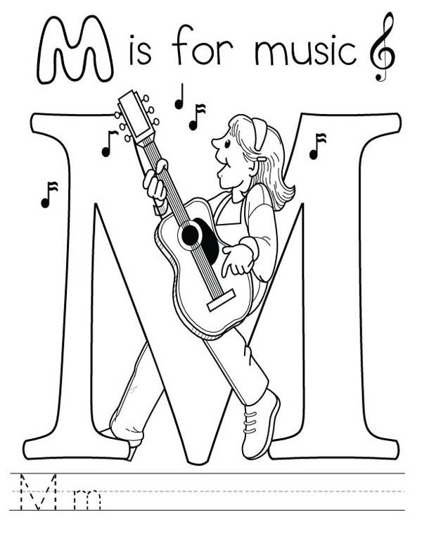 Letter M, : Letter M is for Music Coloring Page
