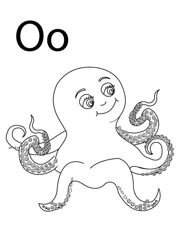Letter O, : Letter O Coloring Page for Octopus