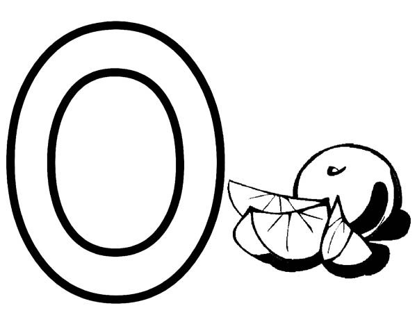 Letter O, : Letter O Coloring Page for Orange