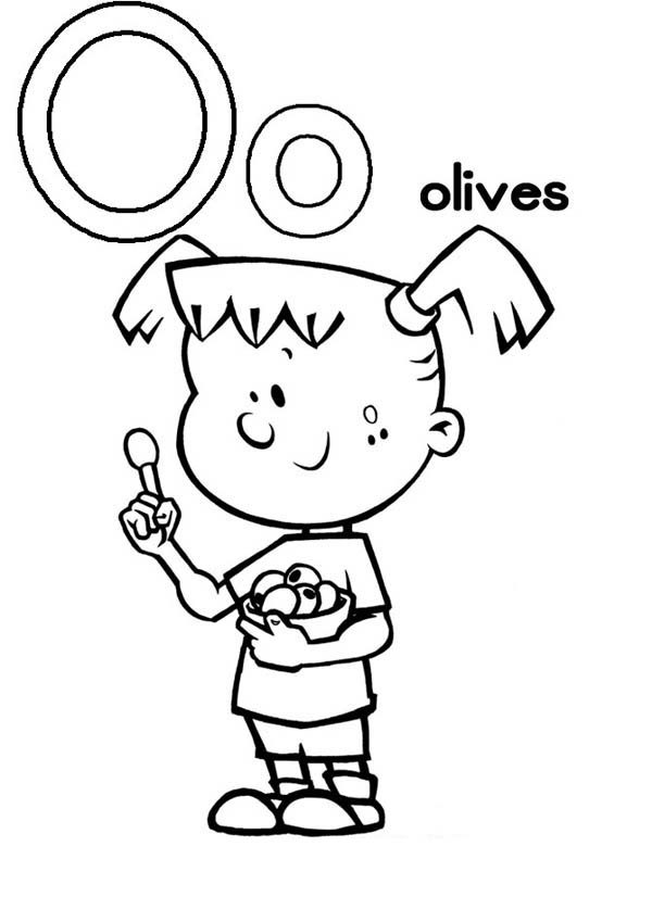 Letter O, : Letter O is for Olives Coloring Page