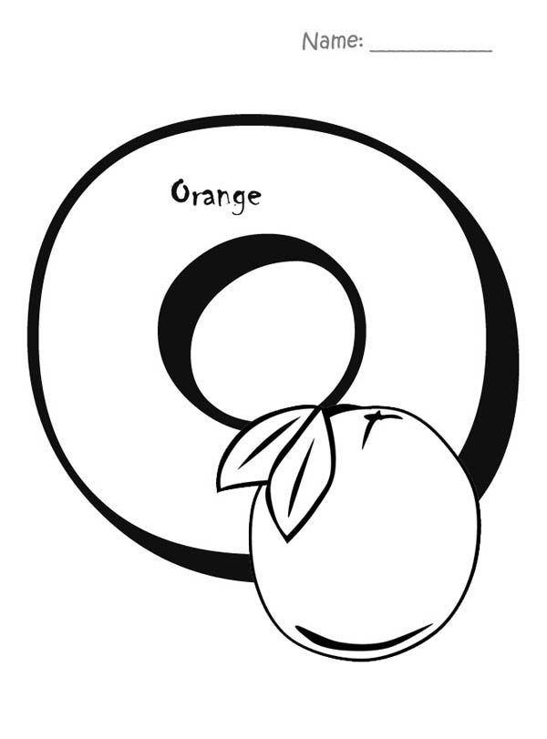Letter O, : Letter O is for Orange Coloring Page