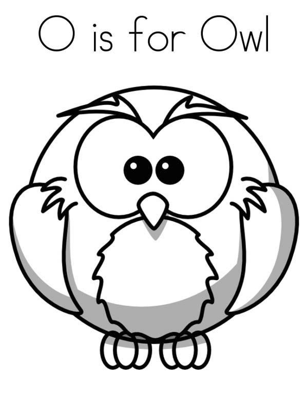 Letter O, : Letter O is for Owl Coloring Page
