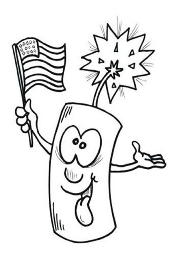 Independence Day, : Ligh firecracker on 4th July Independence Day Coloring Page