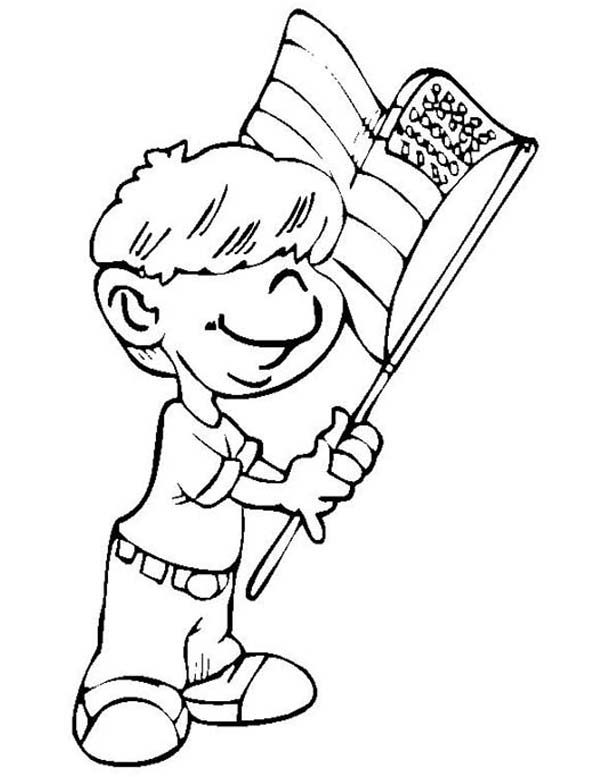Independence Day, : Little Children Waving Flag on 4th July Independence Day Coloring Page